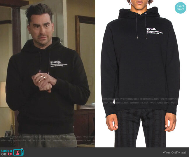 Truth Hoodie by Sacai worn by David Rose (Daniel Levy) on Schitts Creek
