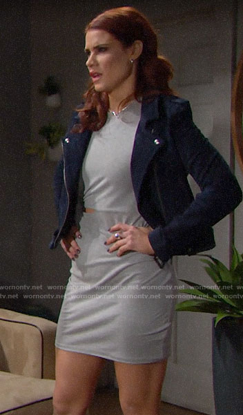 Sally's grey cutout dress and blue suede jacket on The Bold and the Beautiful