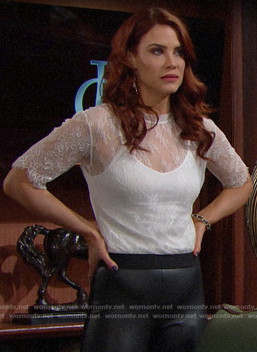 Sally's white lace top and leather leggings on The Bold and the Beautiful