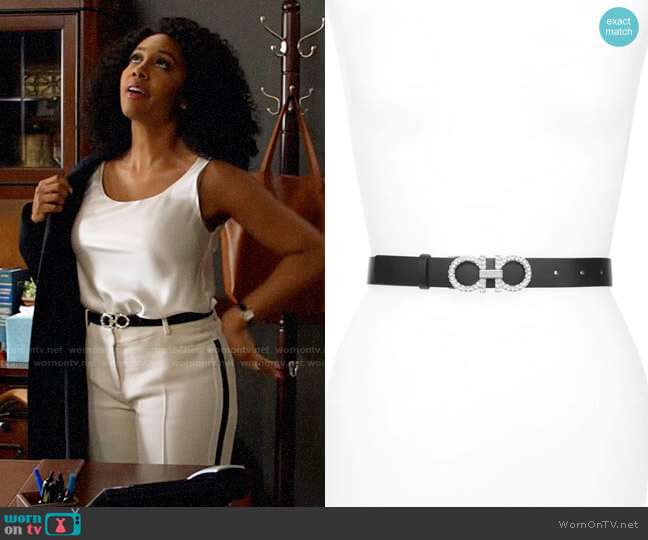 Salvatore Ferragamo Double Gancio Crystal Buckle Leather Belt worn by Lola Carmichael (Simone Missick) on All Rise