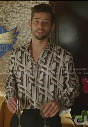 Sam's geometric print shirt on Dynasty