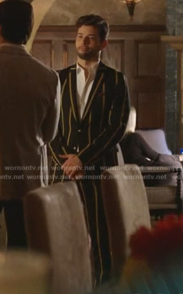 Sam's black and yellow striped suit on Dynasty