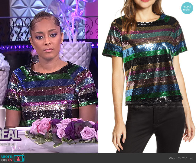 Saturday Night Sequin Top by Sanctuary worn by Amanda Seales  on The Real