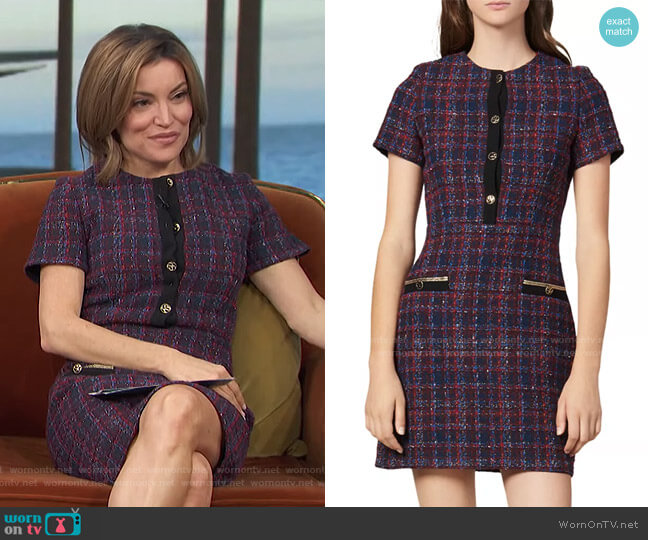 Chela Tweed Mini Dress by Sandro worn by Kit Hoover  on Access Hollywood