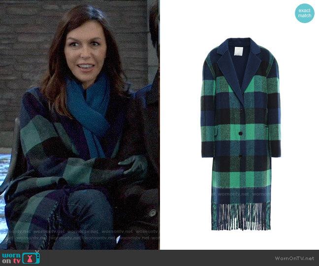 Sandro Joie Fringed Buffalo Plaid Coat worn by Anna Devane (Finola Hughes) on General Hospital