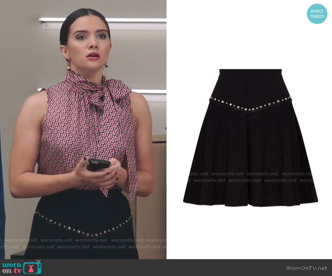 Oria Stud Detail Knit Miniskirt by Sandro worn by Jane Sloan (Katie Stevens) on The Bold Type