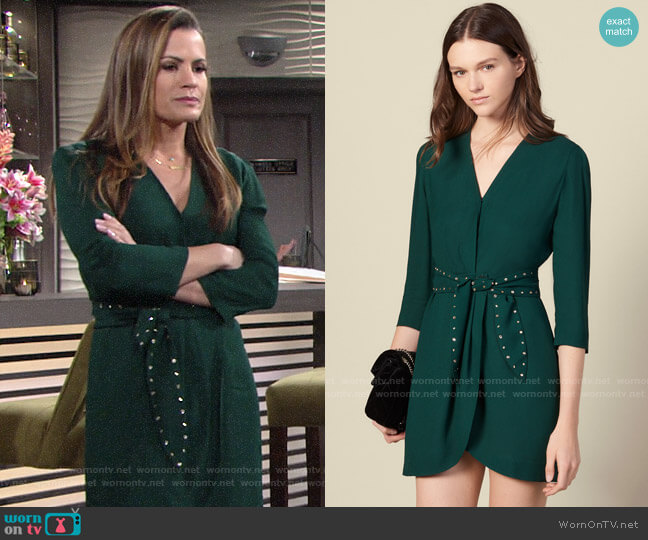 Sandro Shoulder pad dress with rhinestone belt worn by Chelsea Lawson (Melissa Claire Egan) on The Young & the Restless