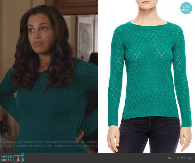 Anabelle Pointelle Sweater by Sandro worn by Grace Stone (Athena Karkanis) on Manifest
