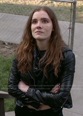 Sandy's black hooded moto jacket on Shameless