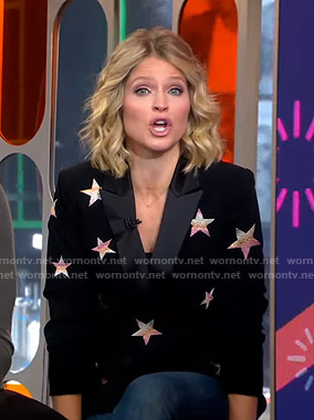 Sara's black star blazer on GMA Strahan Sara And Keke