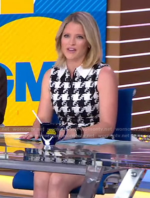 Sara's houndstooth sleeveless dress on Good Morning America