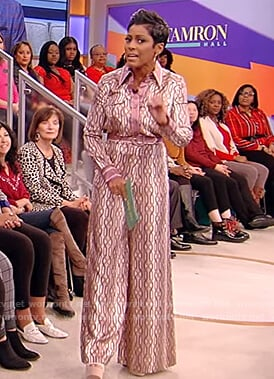 Tamron's printed silk shirt and pants on Tamron Hall Show