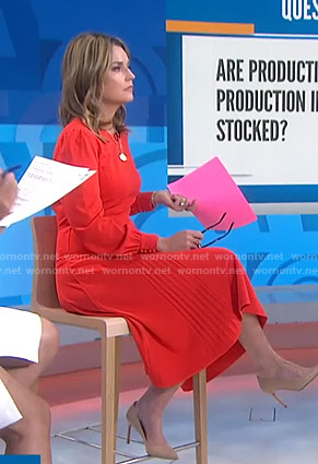 Savannah's red pleated dress on Today