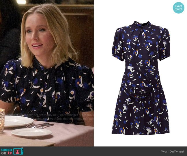 Self Portrait Gathered Botanical Print Dress worn by Eleanor Shellstrop (Kristen Bell) on The Good Place