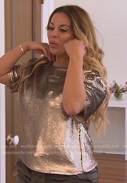 Dolores's gold sequin tee on The Real Housewives of New Jersey