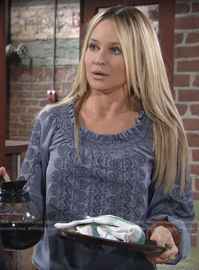 Sharon's blue embroidered blouse on The Young and the Restless