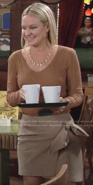 Sharon's checked wrap skirt and ribbed sweater on The Young and the Restless