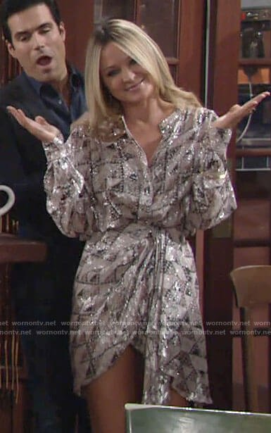 Sharon's metallic NYE dress on The Young and the Restless