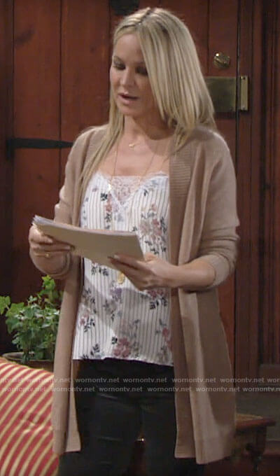Sharon's white floral and stripe cami on The Young and the Restless