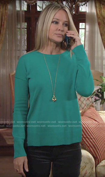 Sharon's teal green sweater on The Young and the Restless