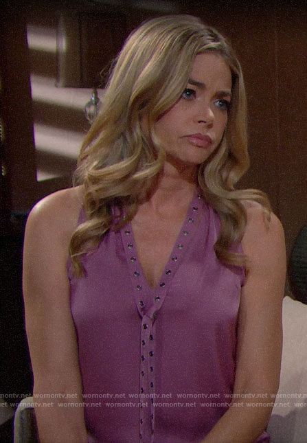Shauna's pink grommet tie neck top on The Bold and the Beautiful