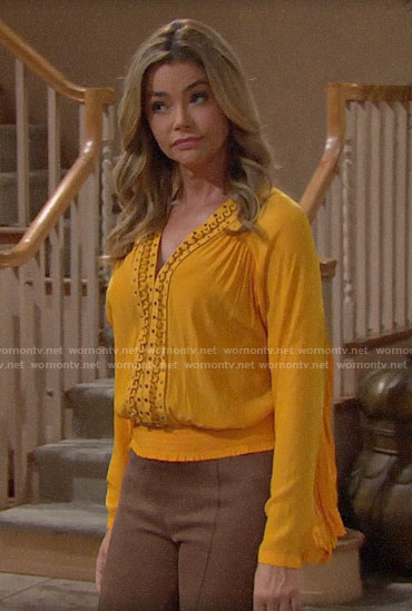 Shauna's yellow embellished v-neck blouse on The Bold and the Beautiful