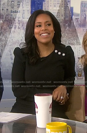 Sheinelle's black dress with pearl buttons on Today