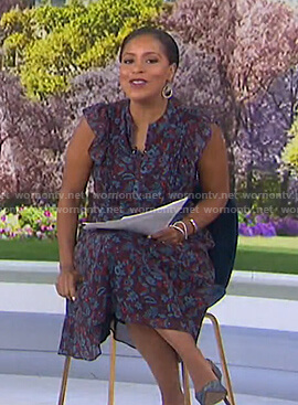 Sheinelle's purple floral midi dress on Today