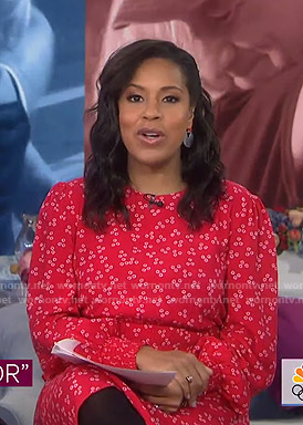 Sheinelle's red printed smocked dress on Today