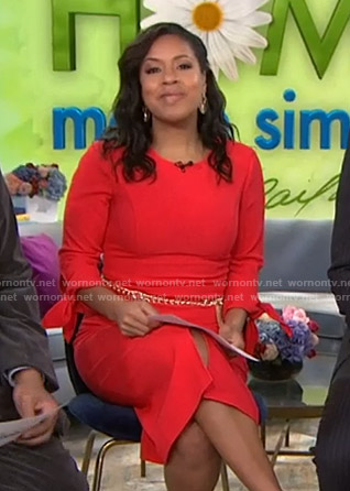 Sheinelle's red tie-sleeve dress on Today