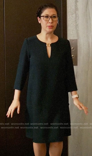 Sherri's toggle neck dress on All Rise
