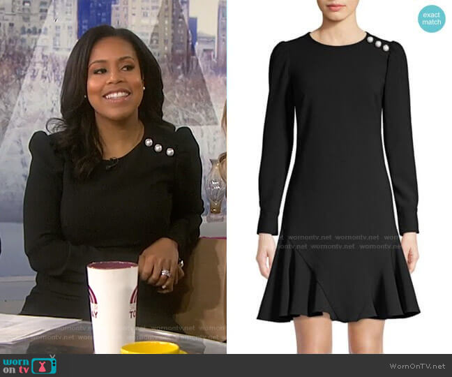 Dara Faux-Pearl Embellished Flare Dress by Shoshanna worn by Sheinelle Jones  on Today
