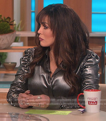Marie's metallic ruched top on The Talk