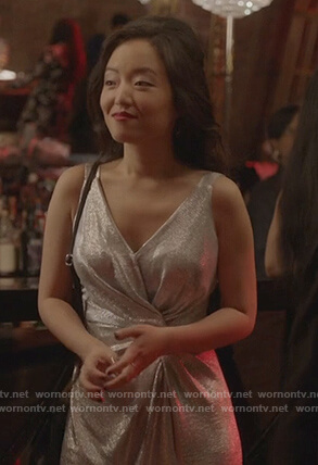 Jannet's metallic twist front dress on Kims Convenience