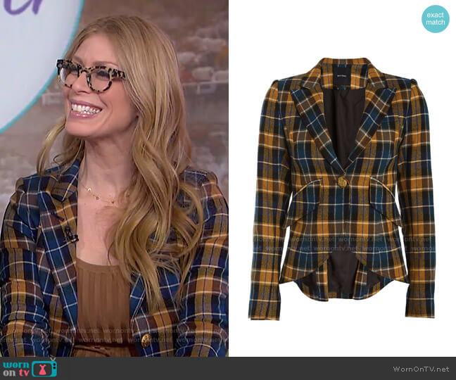Plaid Elbow Patch Blazer by Smythe worn by Jill Martin  on Today