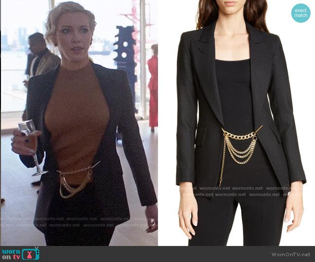 Smythe x Jenny Bird Chain Embellished Blazer worn by Laurel Lance (Katie Cassidy) on Arrow