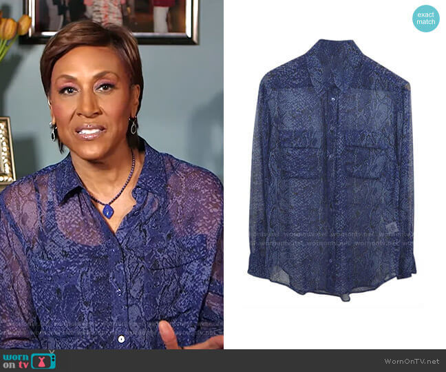 Snakeskin Print Shirt by Equipment worn by Robin Roberts  on Good Morning America