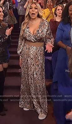 Wendy's snakeskin print maxi wrap dress on The Wendy Williams Show