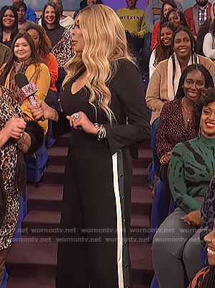 Wendy's black bodysuit and snap button pants on The Wendy Williams Show