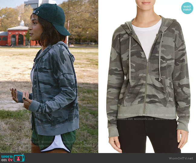 Splendid Camo Hoodie worn by Edie Palmer (Megalyn Echikunwoke) on Almost Family