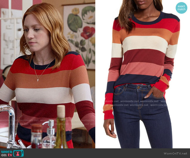 Splendid Duke Stripe Sweater worn by Julia Bechley (Brittany Snow) on Almost Family