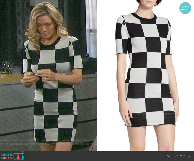 Staud Omar's Checkerboard Knit Dress worn by Kristen DiMera (Stacy Haiduk) on Days of our Lives