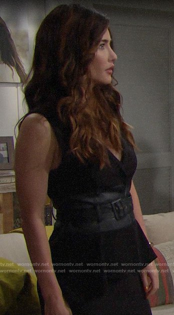 Steffy's black belted leather detail vest on The Bold and the Beautiful