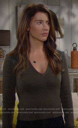 Steffy's olive green leather shoulder sweater on The Bold and the Beautiful