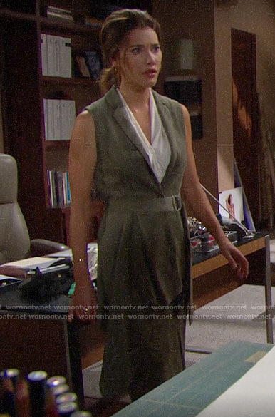 Steffy's green suede belted vest on The Bold and the Beautiful