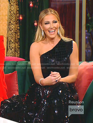 Kary's black feather-trim strapless gown on The Real Housewives of Dallas