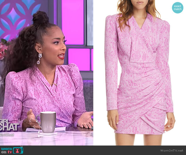 Will Snake Print Long Sleeve Dress by Stine Goya worn by Amanda Seales  on The Real