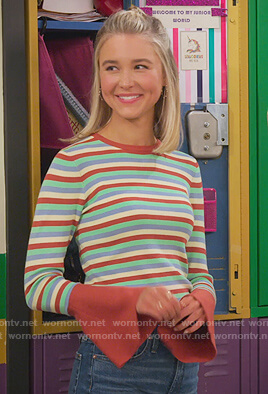 Katie's stripe sweater with bell sleeves on Alexa & Katie