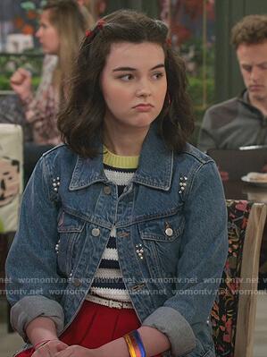 Gwenny's black tweed top on Alexa & Katie