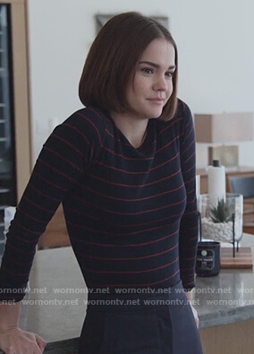 Callie's navy striped long sleeve tee on Good Trouble